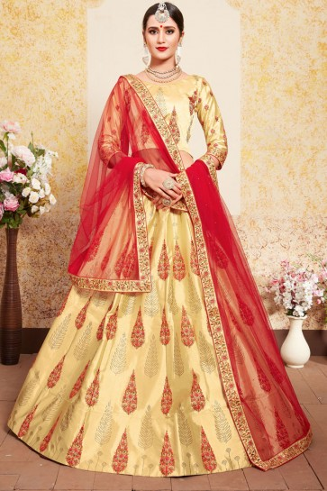Lovely Cream Satin Thread Work Work Designer Lehenga Choli With Net Dupatta