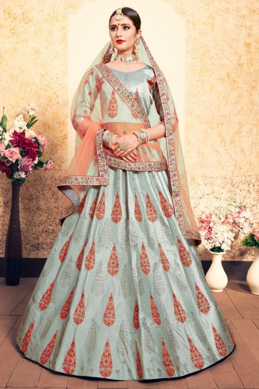 Desirable Grey Satin Thread Work Designer Lehenga Choli With Net Dupatta