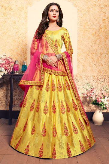 Beautiful Yellow Satin Thread Work Work Designer Lehenga Choli With Net Dupatta
