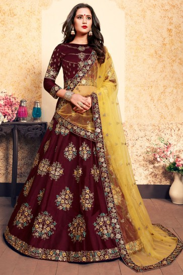 Supreme Maroon Satin Thread Work Work Designer Lehenga Choli With Net Dupatta