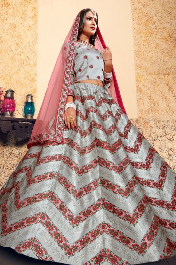 Admirable Grey Satin Thread Work Designer Lehenga Choli With Net Dupatta