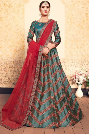 Ultimate Green Satin Thread Work Work Designer Lehenga Choli With Net Dupatta