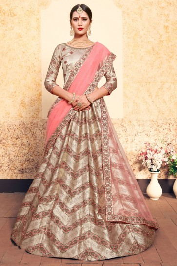 Gorgeous Beige Satin Thread Work Designer Lehenga Choli With Net Dupatta