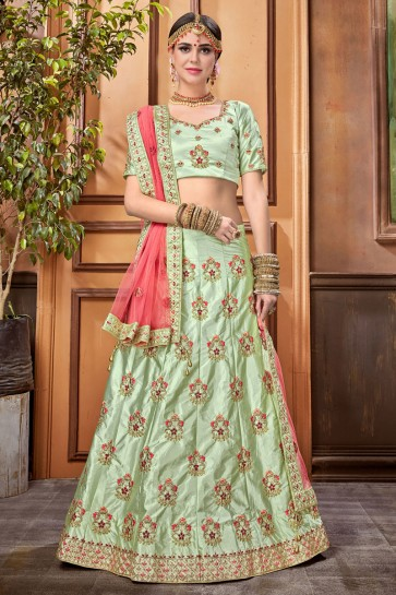 Admirable Green Satin Embroidered Designer Lehenga Choli With Net Dupatta
