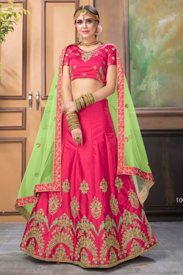 Pretty Pink Satin Embroidered Work Designer Lehenga Choli With Net Dupatta