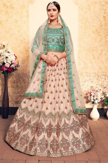Lovely Peach Satin Embroidered Designer Lehenga Choli With Net Dupatta