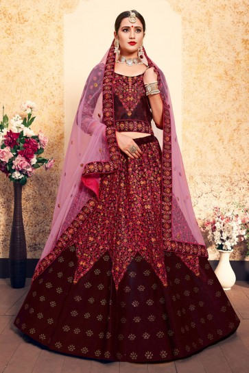 Beautiful Maroon Satin Embroidered Work Designer Lehenga Choli With Net Dupatta