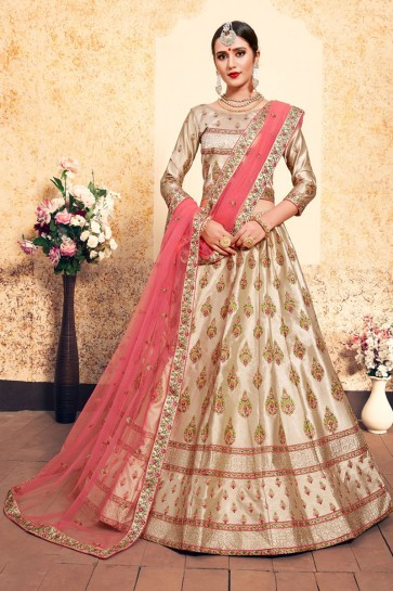 Pretty Beige Satin Embroidered Work Designer Lehenga Choli With Net Dupatta