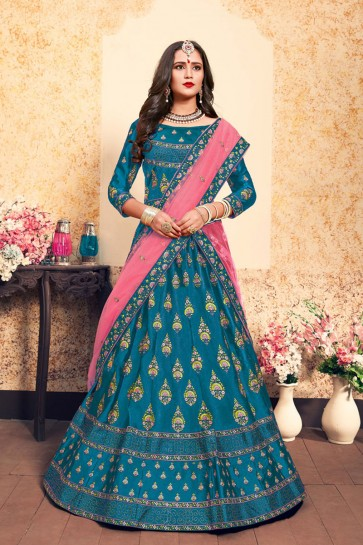 Stylish Sky Blue Satin Embroidered Designer Lehenga Choli With Net Dupatta