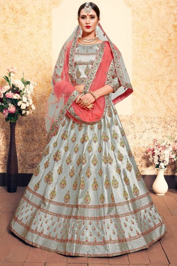 Optimum Grey Satin Embroidered Designer Lehenga Choli With Net Dupatta