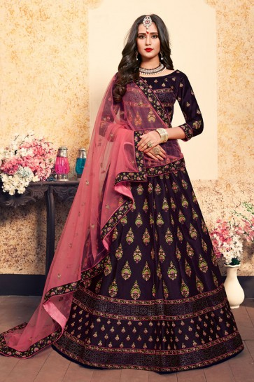 Admirable Maroon Satin Embroidered Work Designer Lehenga Choli With Net Dupatta