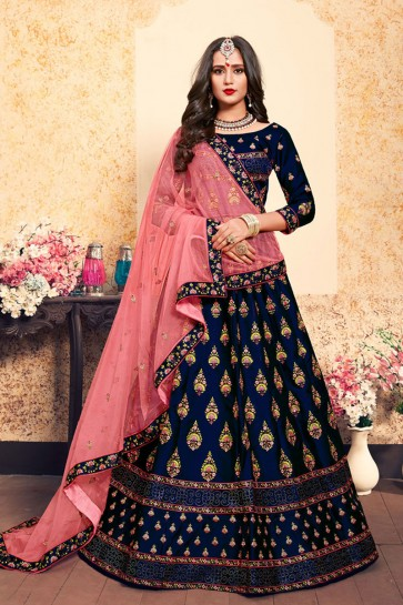 Excellent Navy Blue Satin Embroidered Designer Lehenga Choli With Net Dupatta