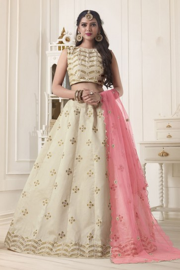 Excellent Cream Silk Embroidered Work Designer Lehenga Choli With Net Dupatta