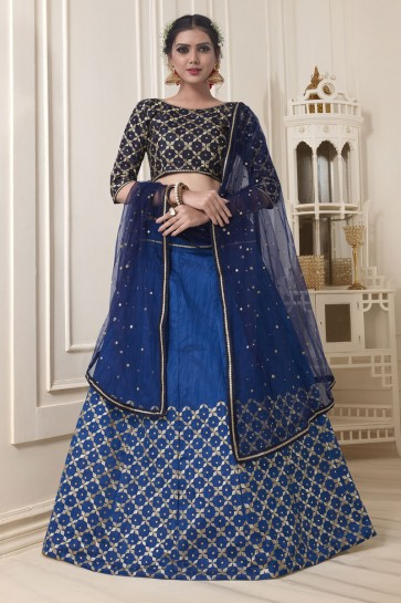 Pretty Blue Silk Embroidered Work Designer Lehenga Choli With Net Dupatta