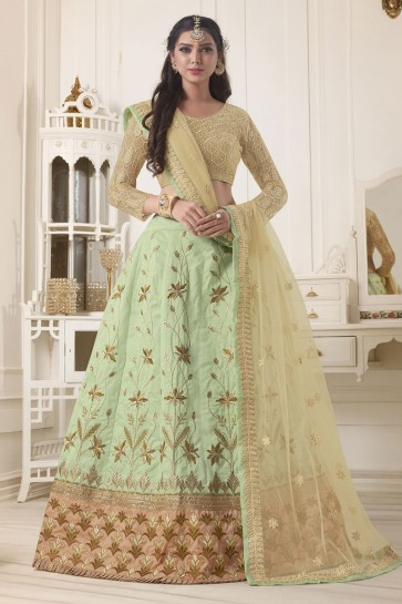 Admirable Green Silk Embroidered Designer Lehenga Choli With Net Dupatta