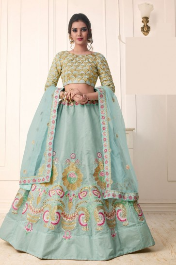 Optimum Sky Blue Silk Embroidered Designer Lehenga Choli With Net Dupatta