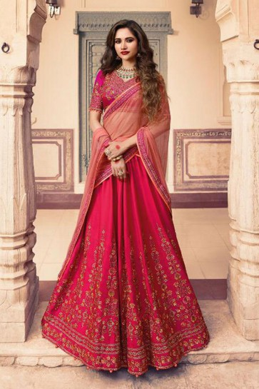 Charming Magenta Silk Embroidered Work Designer Lehenga Choli With Net Dupatta