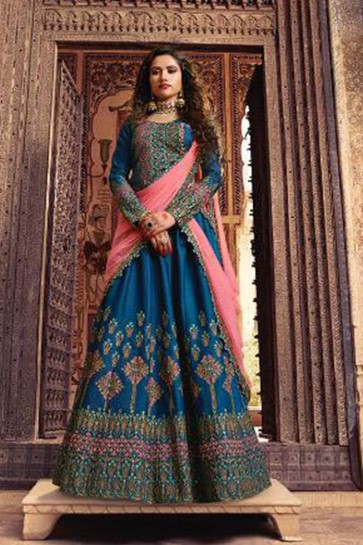 Classic Blue Silk Embroidered Designer Lehenga Choli With Net Dupatta