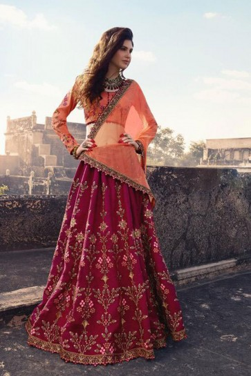 Pretty Purple Silk Embroidered Work Designer Lehenga Choli With Net Dupatta