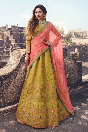 Gorgeous Yellow Silk Embroidered Work Designer Lehenga Choli With Net Dupatta