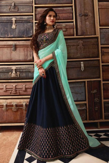 Graceful Navy Blue Silk Embroidered Work Designer Lehenga Choli With Net Dupatta