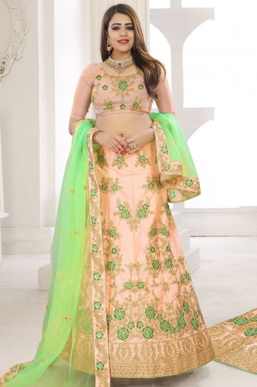 Desirable Peach Silk Embroidered Work Designer Lehenga Choli With Net Dupatta