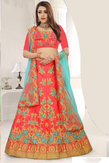 Ultimate Pink Silk Embroidered Designer Lehenga Choli With Net Dupatta