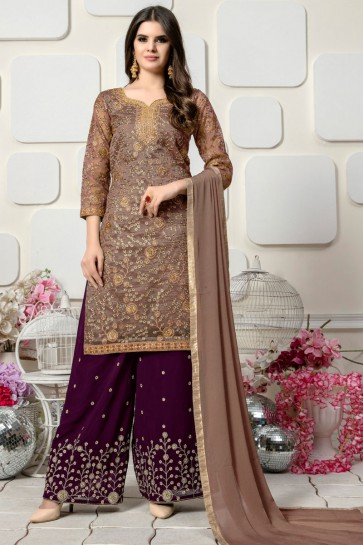 Lovely Beige Organza Embroidered Designer Plazo Salwar Suit
