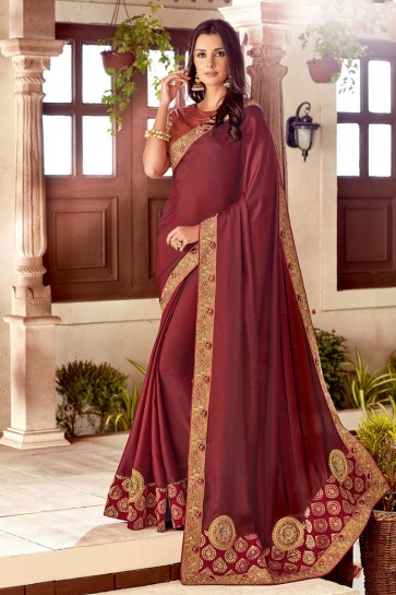 Lovely Maroon Silk Embroidered Saree