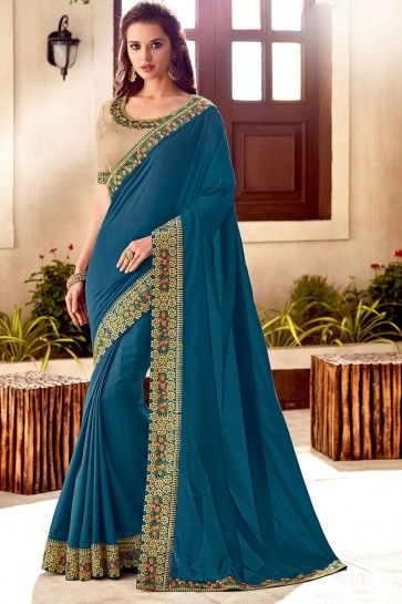 Excellent Teal Silk Embroidered Saree