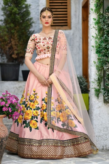 Admirable Pink Silk Sequins Work Designer Lehenga Choli With Net Dupatta