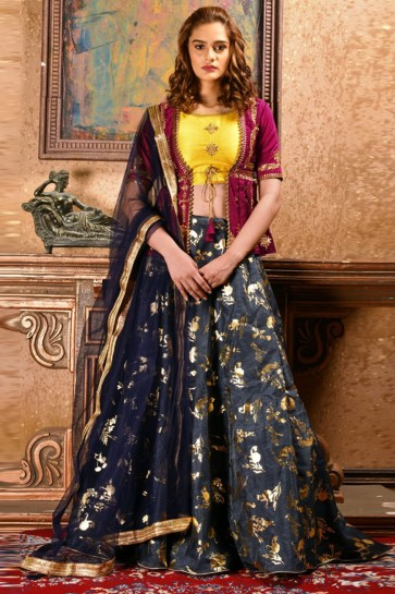Gorgeous Navy Blue Silk Sequins Work Designer Lehenga Choli With Net Dupatta