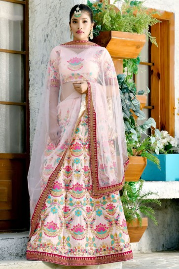 Pretty Pink Silk Sequins Work Designer Lehenga Choli With Net Dupatta