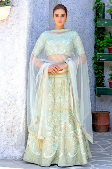 Lovely Green Silk Sequins Work Designer Lehenga Choli With Net Dupatta