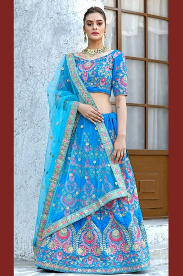 Ultimate Sky Blue Silk Sequins Work Designer Lehenga Choli With Net Dupatta