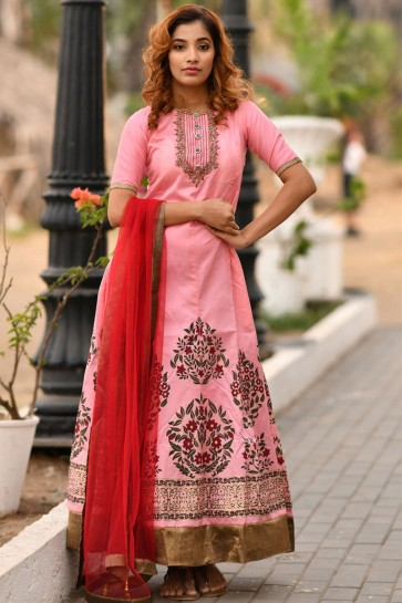 Classic Pink Silk Sequins Work Long Length Gown