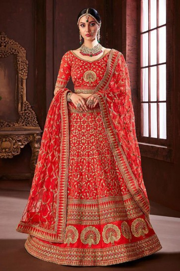 Gorgeous Red Embroidered Silk Bridal Lehenga Choli With Net Dupatta