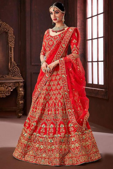 Lovely Red Embroidered Silk Bridal Lehenga Choli With Net Dupatta