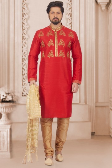 Admirable Red Banarasi Silk Designer Embroidered Kurta Pajama