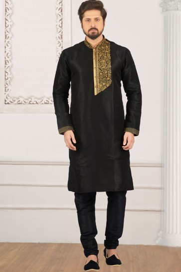 Supreme Black Banarasi Silk Designer Embroidered Kurta Pajama