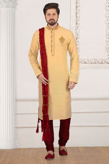 Ultimate Golden Banarasi Silk Designer Embroidered Kurta Pajama
