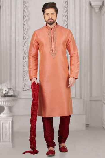 Lovely Peach Banarasi Silk Embroidered Kurta Pajama