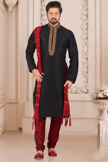 Stylish Black Banarasi Silk Embroidered Kurta Pajama