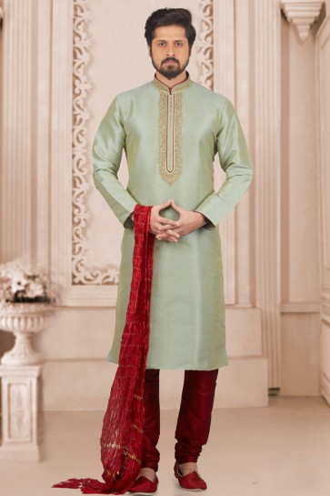 Graceful Green Banarasi Silk Embroidered Kurta Pajama