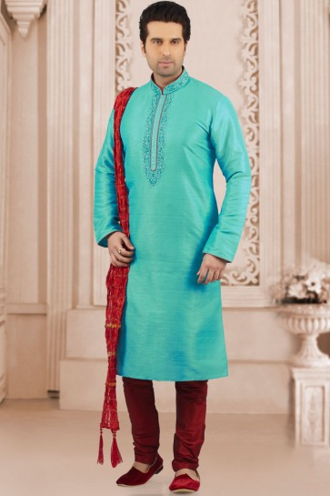Stylish Sky Blue Cream Banarasi Silk Embroidered Kurta Pajama