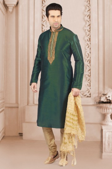 Gorgeous Green Banarasi Silk Embroidered Party Wear Kurta Pajama