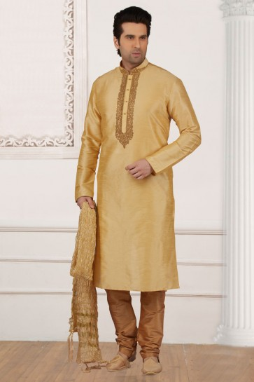 Desirable Golden Banarasi Silk Embroidered Party Wear Kurta Pajama