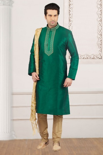 Supreme Green Banarasi Silk Embroidered Party Wear Kurta Pajama