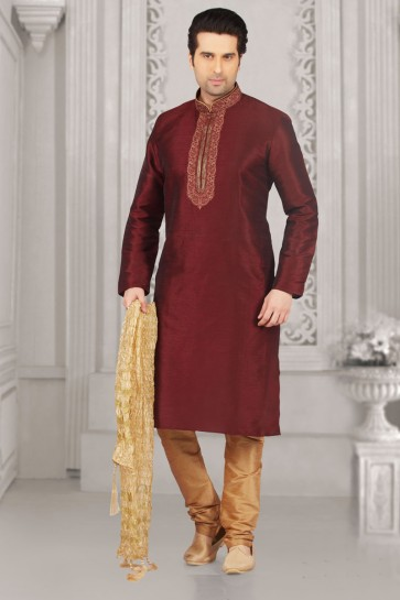 Graceful Maroon Banarasi Silk Embroidered Party Wear Kurta Pajama