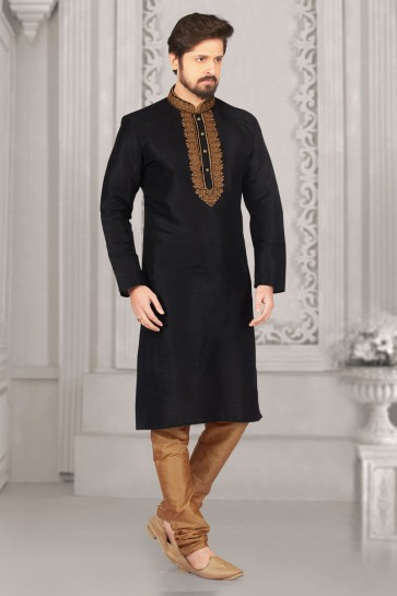 Charming Black Banarasi Silk Embroidered Party Wear Kurta Pajama
